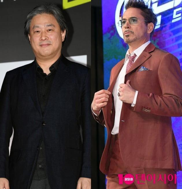 박찬욱 감독(왼쪽)과 배우 로버트 다우니 주니어. / 사진=텐아시아DB