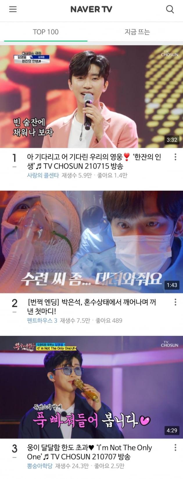 임영웅, 네이버TV도 점령……1·3위 순위 장악