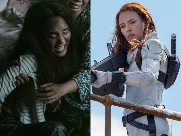 영화 '랑종'(왼쪽)과 '블랙 위도우'의 한 장면. / 사진제공=쇼박스, 월트디즈니컴퍼니 코리아