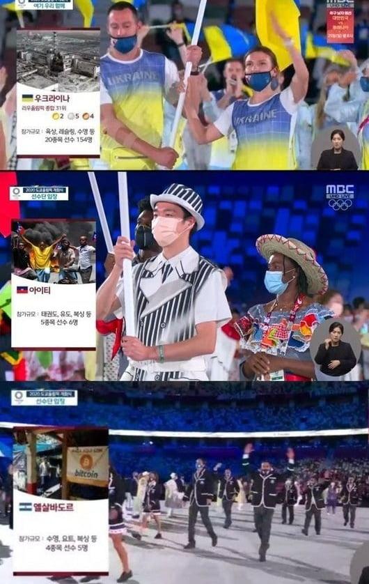 '도쿄올림픽' 개회식/ 사진=MBC 캡처