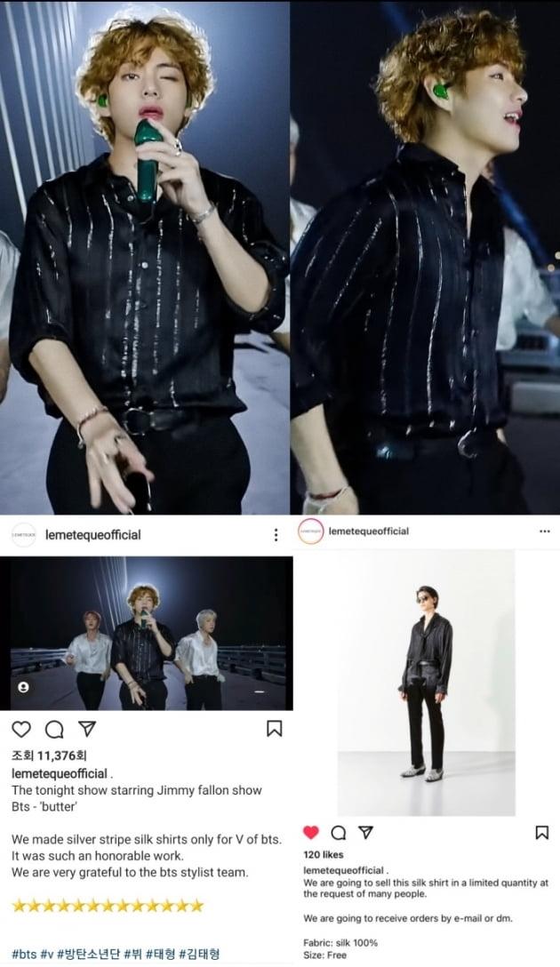 방탄소년단 뷔, '블랙 셔츠' 못 구해요?…구입 문의 빗발→결국 특별제작