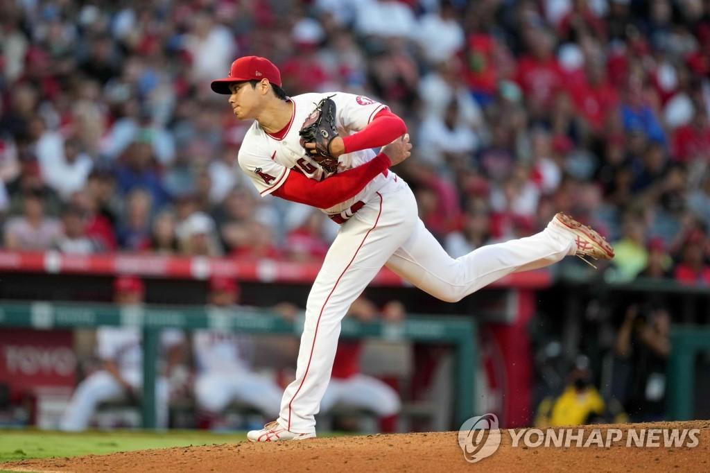오타니 7이닝 2실점+시속 173㎞ 동점 2루타…시즌 4승