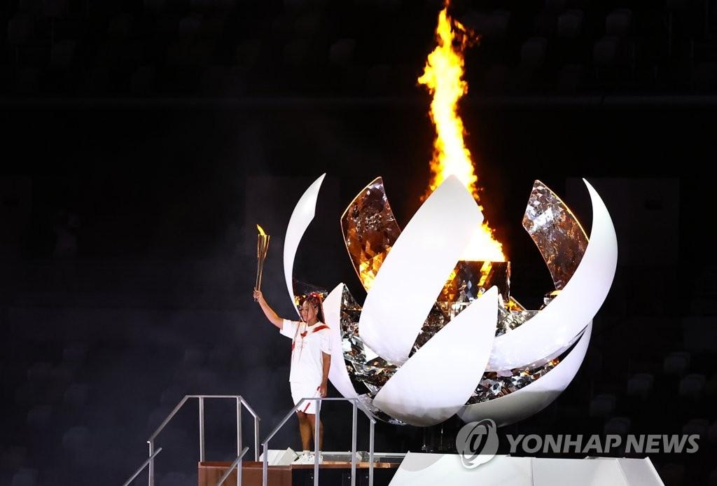 [올림픽] 도쿄 밝힌 성화 점화자는 테니스 스타 오사카 나오미(종합)