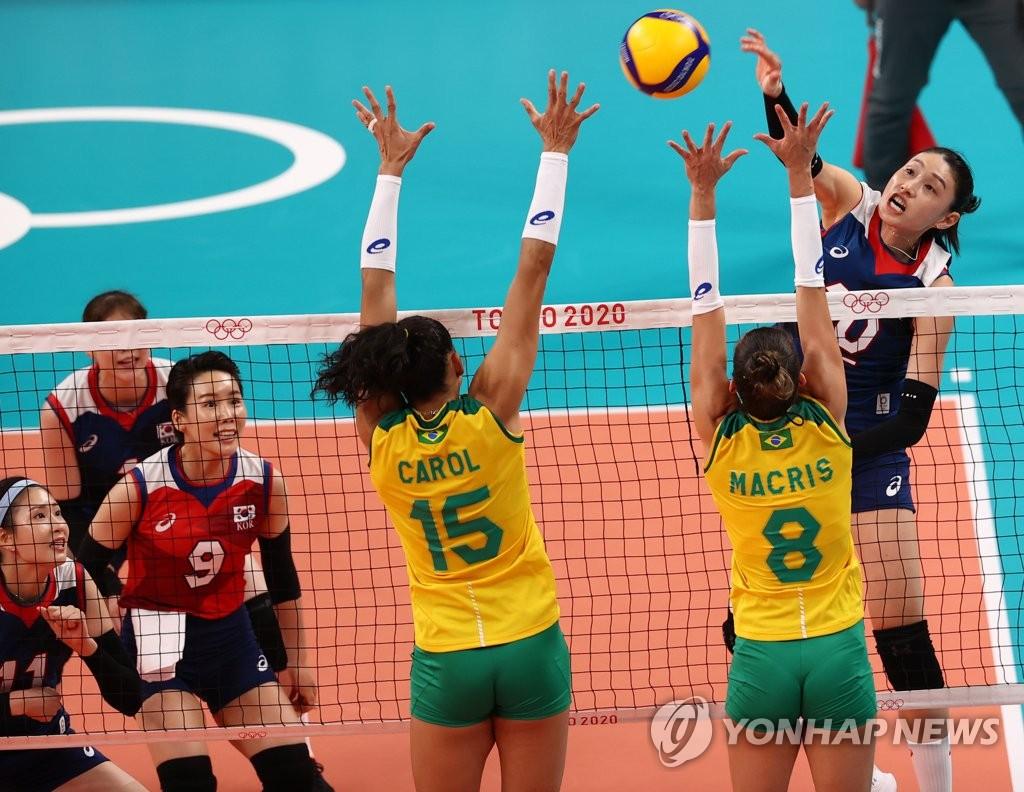 -올림픽- 김연경만으로는 역부족…한국배구, 브라질에 완패