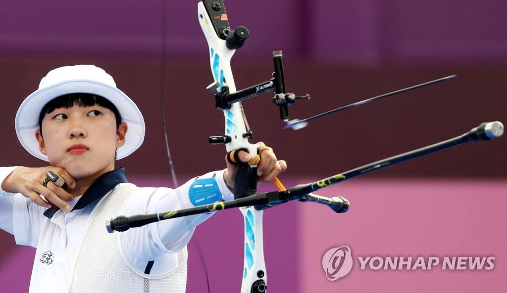 -올림픽- 안산, 양궁 첫 3관왕까지 1승 남았다…역전의 '6연속 10점'