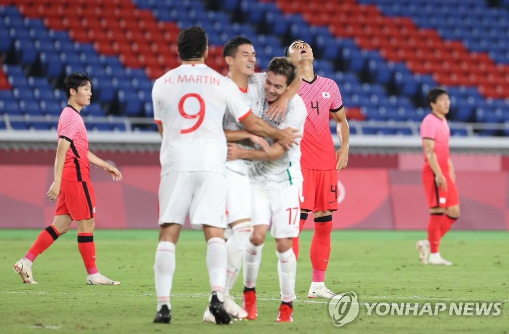 -올림픽- 한국 축구, 멕시코에 3-6 완패…두 대회 연속 8강서 탈락
