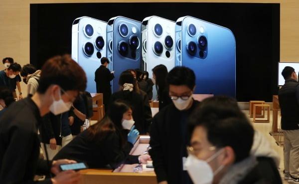 지난해 11월 애플의 아이폰12 프로맥스와 아이폰12 미니가 공식 출시한 20일 오전 서울 강남구 가로수길 애플스토어에 아이폰을 구입하러 온 고객들로 북적이고 있다/사진=뉴스1
