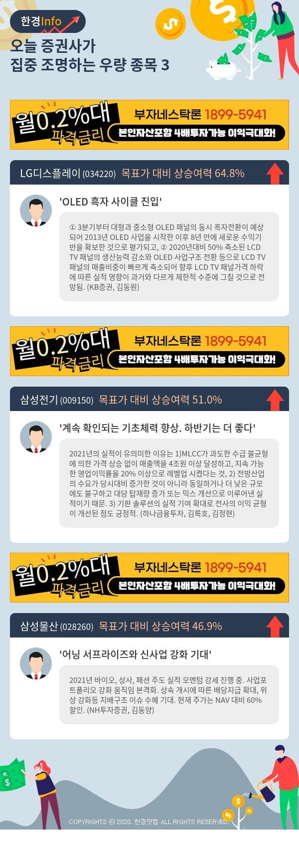 [핫클릭]오늘 증권사가 집중 조명하는 우량 종목 3