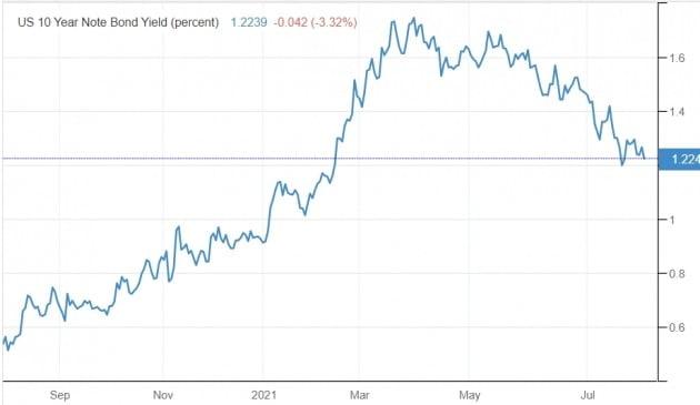 미국의 10년 만기 국채 금리는 지난 3월 연 1.75%까지 치솟았으나 현재 연 1.2%대에 그치고 있다. 미 재무부 및 트레이딩이코노믹스 제공