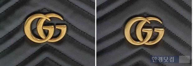 구찌 마몬트 마틀라세 라인의 진품(왼쪽) 및 가품 제품의 금형. 진품의 금형은 얼핏 보면 생활 스크래치가 난 것처럼 보인다. [사진=이미경 기자]