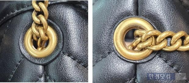체인의 마감 역시 진품과 가품은 다르다. 진품(왼쪽)은 양쪽의 대칭이 잘 맞지만 가품은 대칭이 잘 맞지 않고 한쪽으로 쏠려 있다. [사진=이미경 기자]