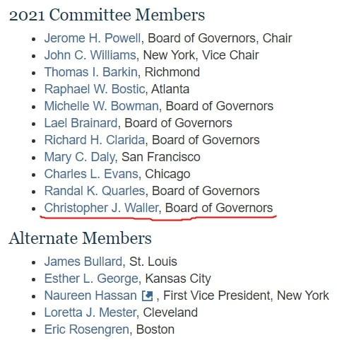 올해의 FOMC 참석자 명단. Fed 이사 한 명이 공석이어서 총 11명이 참석하고 있다. 하단은 내년에 FOMC에 합류할 인사들. Fed 제공