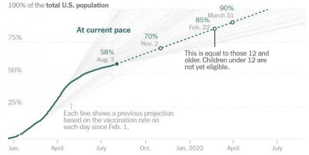 미국의 백신 접종 속도가 크게 둔화하고 있다. 미 질병통제예방센터(CDC)는 오는 11월은 돼야 전체 인구 대비 70% 접종률을 달성할 수 있을 것으로 보고 있다. CDC 및 뉴욕타임스 제공