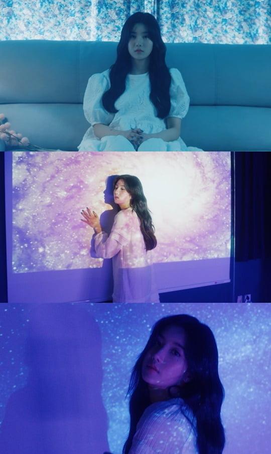 '아이즈원 첫 솔로' 권은비, 'Blue eyes' 리릭 포토+트랙 비디오 공개