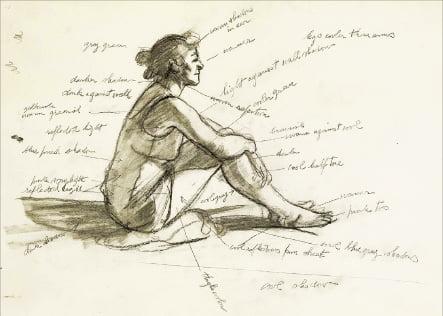 에드워드 호퍼의 '아침 태양' 스케치.