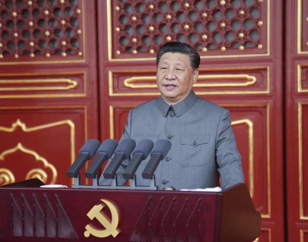 시진핑 중국 국가주석이 지난 7월 1일 베이징에서 열린 공산당 창당 100주년 기념행사에서 축사를 하고 있다. 출처: 연합뉴스