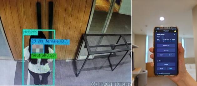 야놀자 쇼룸에 있는 스마트 로비 카메라가 야놀자 관계자(왼쪽)의 모습을 인식한 화면과 기자가 와이플럭스 패스를 이용하는 모습./사진=한경비즈니스