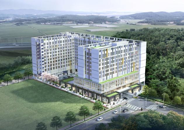 삼성디스플레이 아산캠퍼스에 지어질 브라운스톤 갤럭시 조감도. 출처: 이수건설
