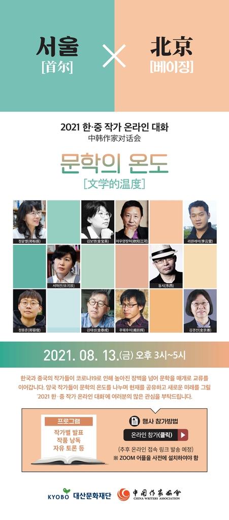 한·중 작가 온라인 대화 13일 개최