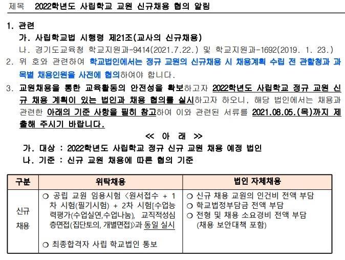 '사립교사 직접 뽑겠다' 경기교육청 위탁채용 방침에 사학 반발