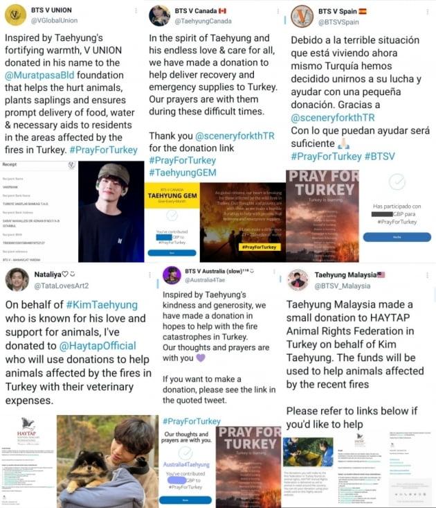 방탄소년단 뷔, 팬들 터키 산불 피해민에게 기부...아픔을 나누는 선한 영향력