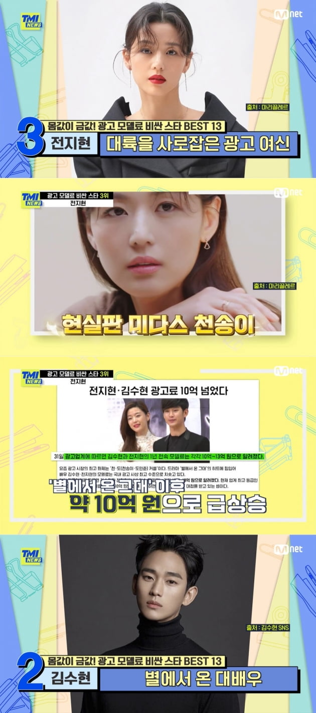 'TMI NEWS' 광고료 순위/ 사진=MNET 캡처