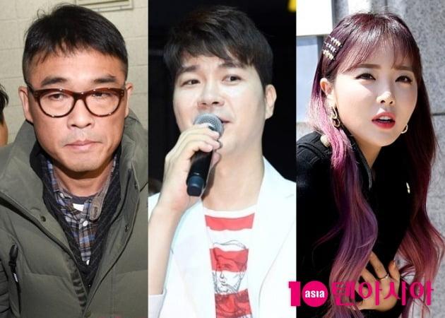 '미우새'에서 하차한 김건모(왼쪽부터), 박수홍, 홍진영/ 사진=텐아시아DB