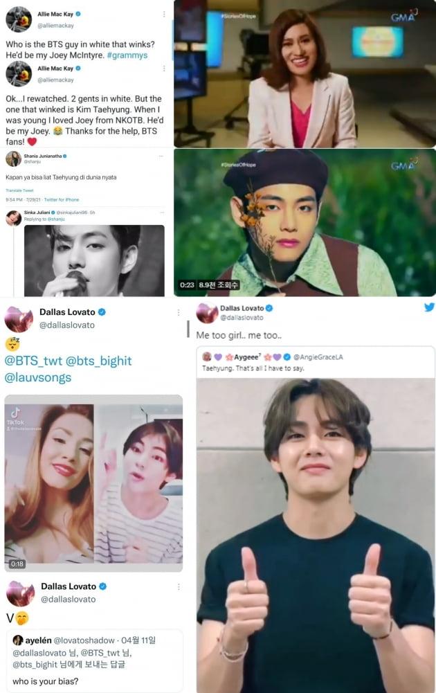방탄소년단 뷔, 국경 초월 매력로 해외 셀럽들의 '글로벌 최애 스타' 자리매김
