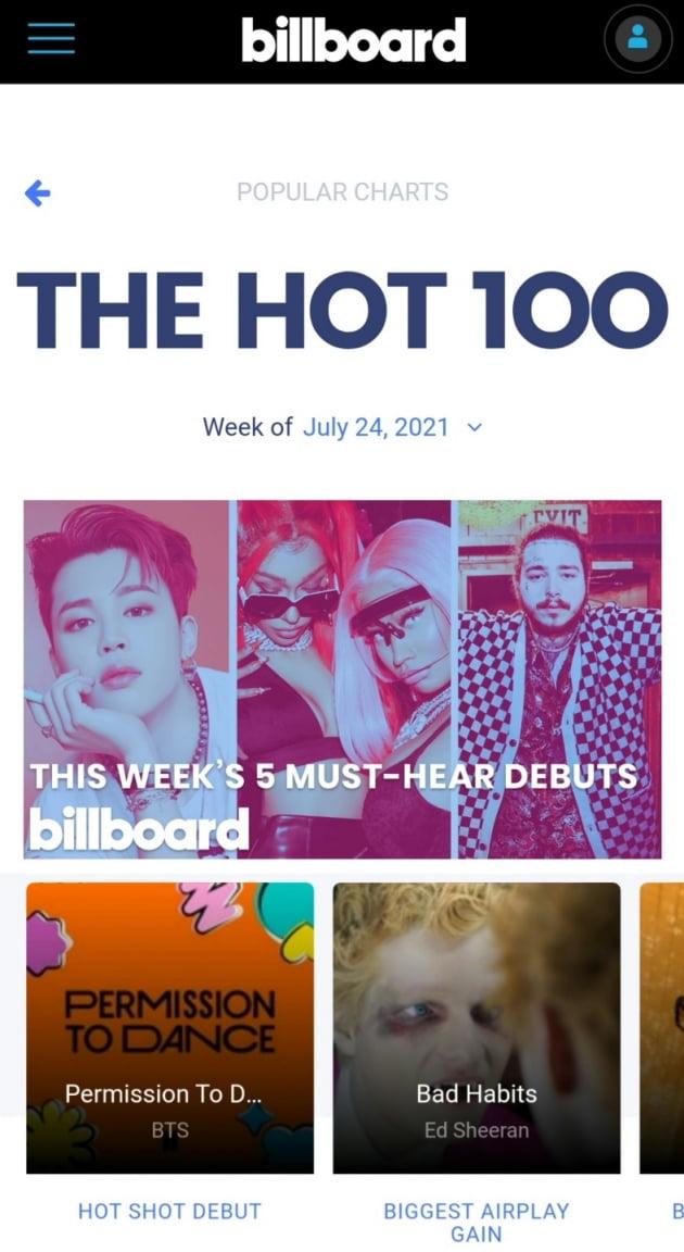 'BTS Frontman' 지민, 빌보드 핫100 1위 대표 이미지→'2021 MTV VMA' 섬네일까지