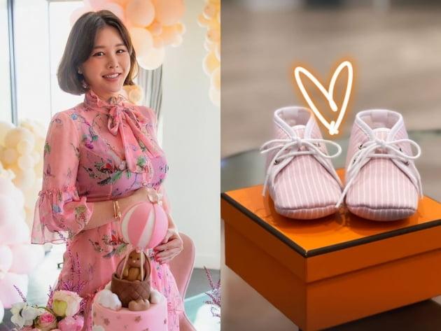 'LA댁' 박은지, 뱃속 딸이 받은 명품H사 신발에 행복한 예비맘 [TEN★]