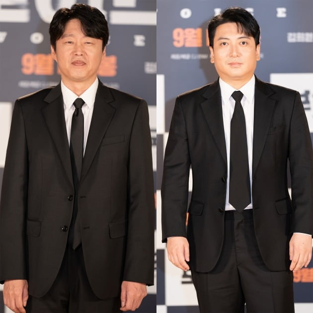 배우 김희원(왼쪽), 박명훈이 19일 열린 영화 '보이스' 온라인 제작보고회에 참석했다. / 사진제공=CJ ENM