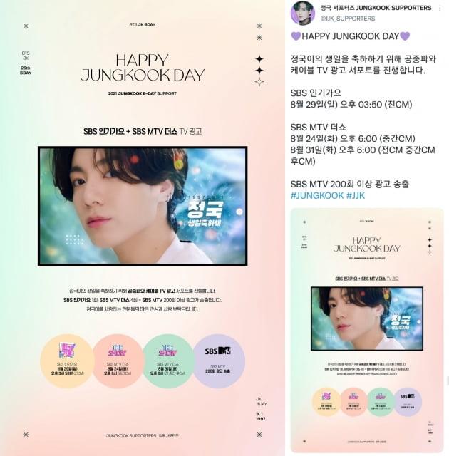 방탄소년단 정국 韓팬클럽 '정국 서포터즈' 공중파+케이블 TV 생일 광고 송출