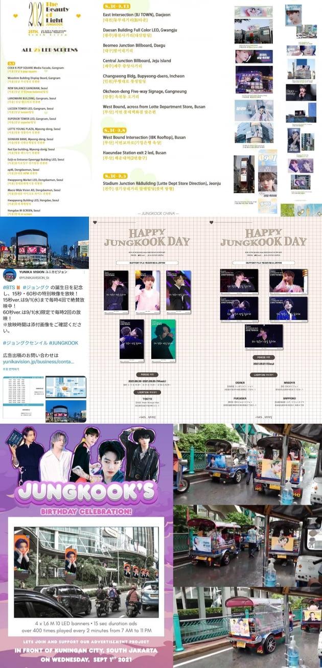 방탄소년단 정국 생일 맞이 '中팬클럽' 전국 주요 LED 전광판 25개→日·인도·인도네시아·태국 서포트