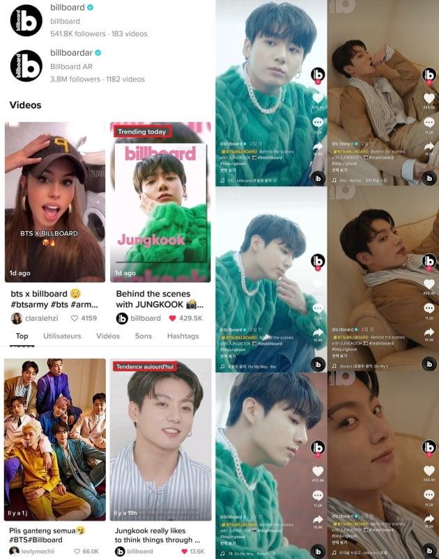 방탄소년단 정국 美빌보드 비하인드 영상, '틱톡'서 '트렌딩 투데이'+BTS '최다' 좋아요·댓글