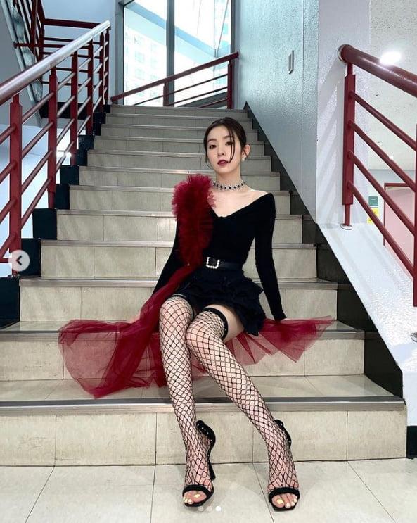레드벨벳 아이린, 활동은 못하지만 과감해진 패션....망사스타킹 신고 아찔[TEN★]