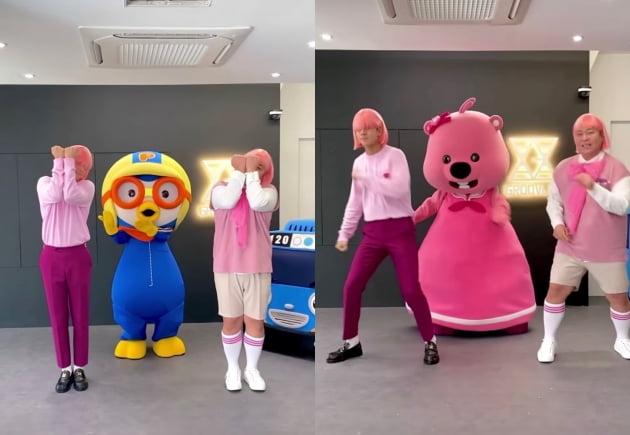 문세윤과 라비가 뽀로로, 루피아 댄스 챌린지를 선보였다. /사진=인스타그램