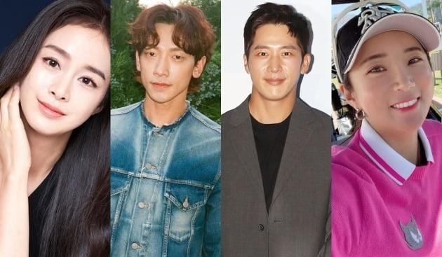 배우 김태희(왼쪽부터), 비, 이완, 프로골퍼 이보미. 가족이 모두 유명인이다. / 사진=SNS, 씨네소파 제공