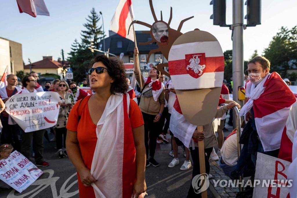 벨라루스 반정부 시위…폴란드·우크라이나서 수백명 거리로