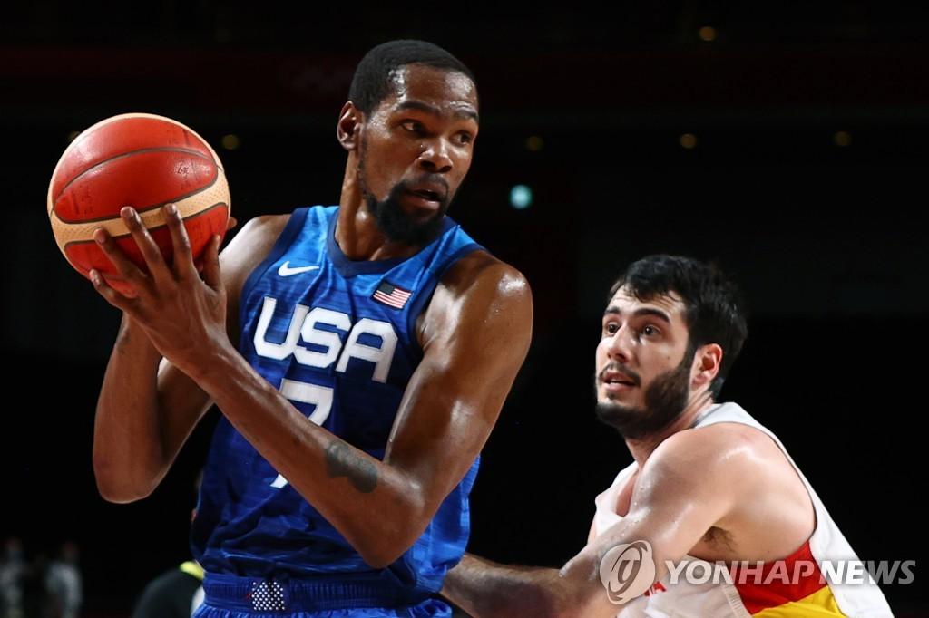 -올림픽- 듀랜트 29점…미국 남자농구, 스페인 꺾고 4강 진출