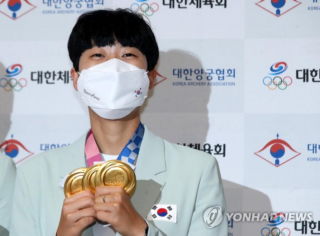 """[올림픽] '3관왕' 안산 """"남은 목표? 개인전 150점 만점이요"""""""