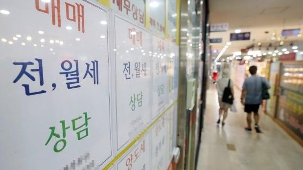 서울의 한 부동산중개업소에 전·월세 상담 안내문이 붙어 있다. /연합뉴스
