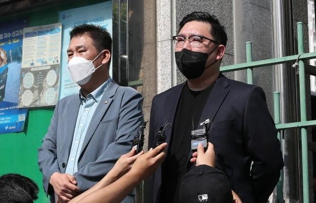 소환조사 입장 밝히는 김기홍 대표(오른쪽) / 사진=뉴스1