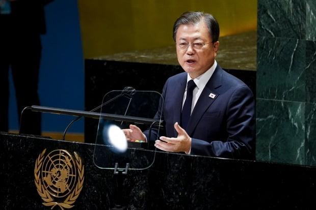 문재인 대통령이 21일(현지시각) 미국 뉴욕 유엔 총회장에서 기조연설을 하고 있다. 사진=연합뉴스