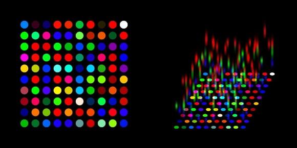 '각서1'의 도식과 '스펙트럼'을 해석한 그림. X·Y·Z축에 빛을 입히는 식으로 이상이 2차원 공간에서 3차원을 표현하려 했다고 해석했다. 사진 GIST