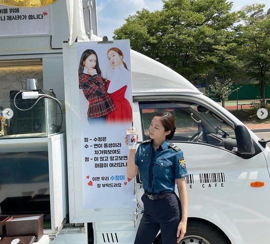 """제시카, 동생 정수정 촬영장에 커피차 응원 """"언니가 쏩니다"""" [TEN★]"""