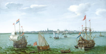 17세기 황금시대 네덜란드 상선들을 묘사한 그림.  헨드릭 코넬리스 브롬, 1622년
