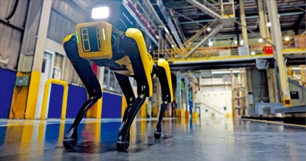 현대자동차그룹은 보스턴다이내믹스의 4족 보행 로봇 스폿을 기반으로 제작한 '공장 안전 서비스 로봇'을 기아 광명공장에 시범 투입한다. 로봇이 공장을 다니며 안전상 특이사항이 있는지 점검하고 있다.  /현대차그룹  제공
