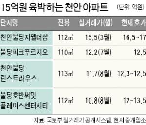 천안 아파트값 '대출금지선' 15억원 넘본다
