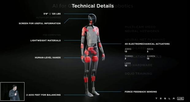 19일 오후(현지시간) 미국 캘리포니아주 테슬라 본사의 'AI(인공지능) 데이' 행사장에서 일론 머스크 테슬라 창업자 겸 최고경영자(CEO)는 사람과 똑같이 생긴 '테슬라 봇(Tesla Bot)'을 공개했다. 인간을 닮은 휴머노이드(humanoid) 로봇으로, 키가 5피트 8인치(약 172㎝)에 무게는 128파운드(약 57㎏)다. 팔, 다리, 목, 관절 등에 30개의 전기 구동기를 달아 45파운드(약 20㎏)의 짐을 운반할 수 있다. 이동 속도는 시속 5마일(약 8㎞)이다. 로봇엔 테슬라 전기차에 적용된 자율주행 기능도 들어갈 예정이다. / 사진=유튜브 화면 캡처