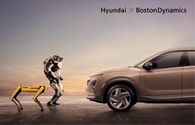 현대차의 수소전기차 넥쏘(오른쪽)와 보스턴다이내믹스의 4족 보행 로봇 '스팟', 2족 직립 보행 로봇 '아틀라스'. 출처: 현대차
